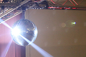 A photo of a disco ball we shot at a party
